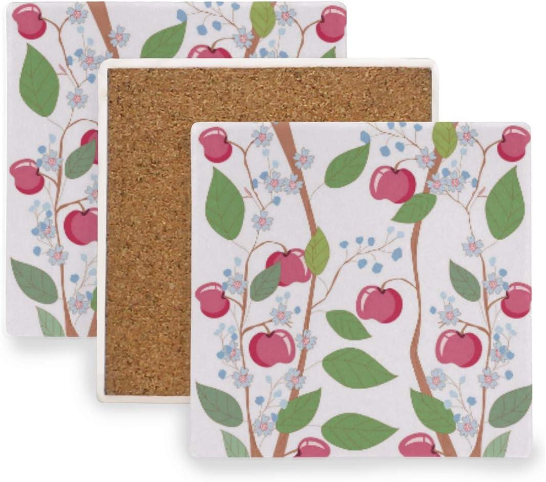 Apple Flower Floral Plaid Ceramic Coasters for Drinks,Square 4 Piece Coaster Set
