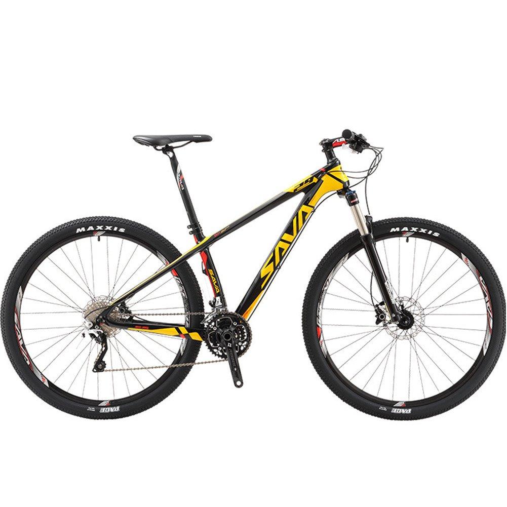 自転車 マウンテンバイク 炭素繊維フレーム カーボンファイバー 超軽量 シマノXT変速30速 29インチ B078V3THJ4イエロー