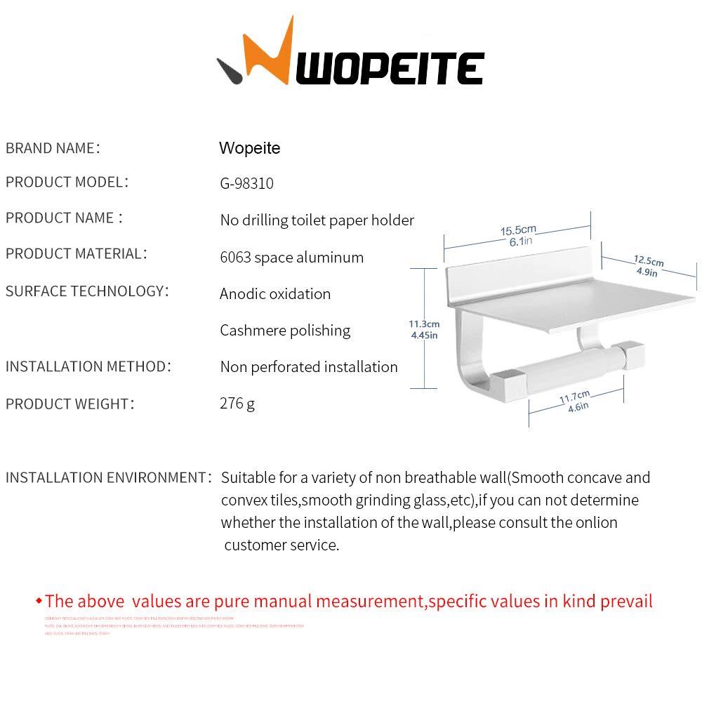 Wopeite Porta Carta Igienica Wopeita Senza Forature In Alluminio con Scomparto Per Telefoni Cellulari Rifiniture Opache Versione Aggiornata