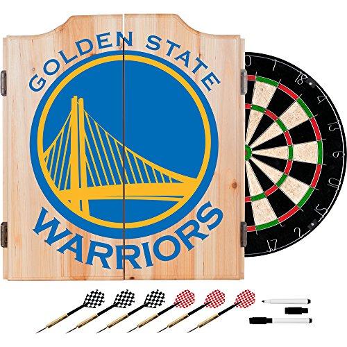 Trademark Gameroom NBA7010-GSW2 NBA Dart Cabinet Set with Darts & Board - Fade - Golden State Warriors