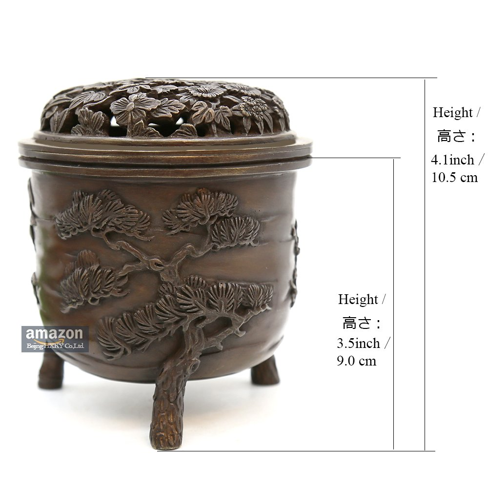 YONG HE XUAN Hand-Made Brass Incense Burner (Pine, Bamboo and Plum Blossom) Contain Incense Holder Net Weight: 1159g (Approx.) Chinese Classical Style Traditional Technology by YONG HE XUAN (Image #4)