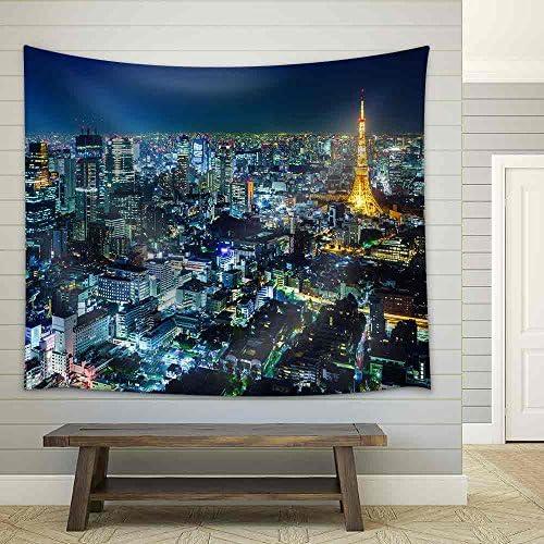 Tokyo Skyline at Night Fabric Wall