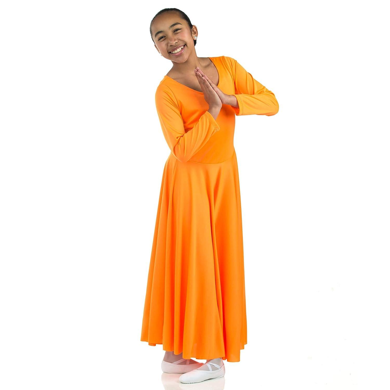 23084d7752d Danzcue Girls Praise Loose Fit Full Length Long Sleeve Dance Dress