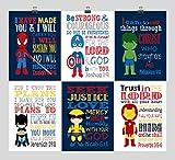 Christian Superhero Nursery Wall Art Set of 6 Prints- Christian Wall Art Print - Captain America, Ironman, Hulk, Batman, Wolverine, Spiderman - Multiple Sizes