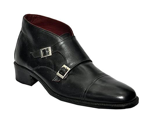 Weber Handmade Leather Black Monk Strap Style Men Shoes