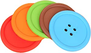 Silicone Drink Coasters Set of 5 Bar Beer Beverage Coasters for Drinks, Waterproof Button Shape Cup Mat Pad for Home and Kitchen, Fits Any Size of Drinking Glasses. (5 Pcs, 5 Colors)