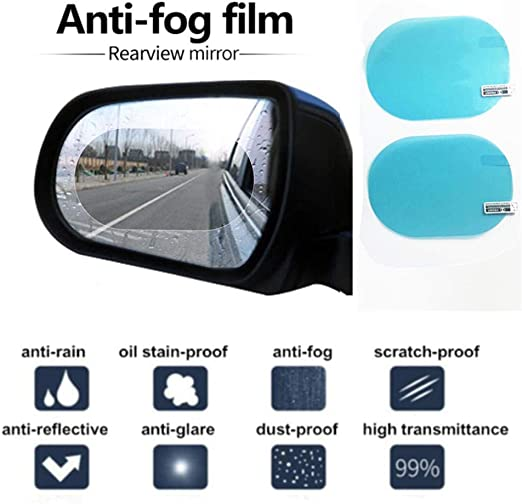 4Pcs Car Rearview Mirror Film Car Anti-Fog Protective Film Anti-Glare Scratch-Proof Rearview Mirror Film Rainproof Car Rearview Mirror Film Sticker Rain Shield Replacement Oval,Round