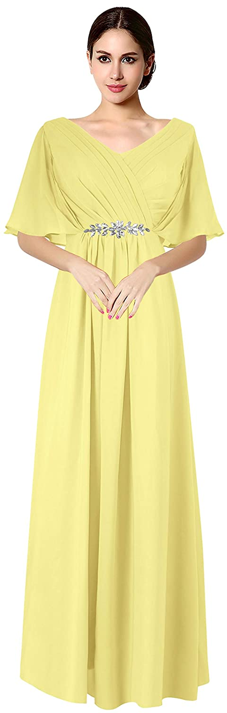 Yellow VaniaDress Women V Neck Half Sleeveles Long Evening Dress Formal Gowns V265LF