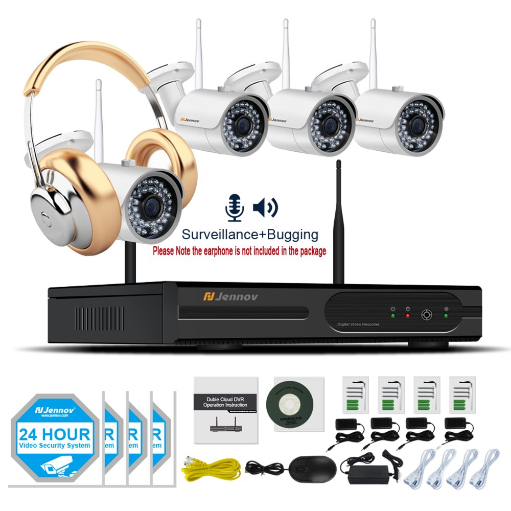 Jennov Wireless Security Camera System 4CH 1080P NVR Kit With 4 960P WiFi IP Cameras Indoor Outdoor Night Vision Surveillance Home Business Wide Angle With Audio Recording (No Hard Drive)