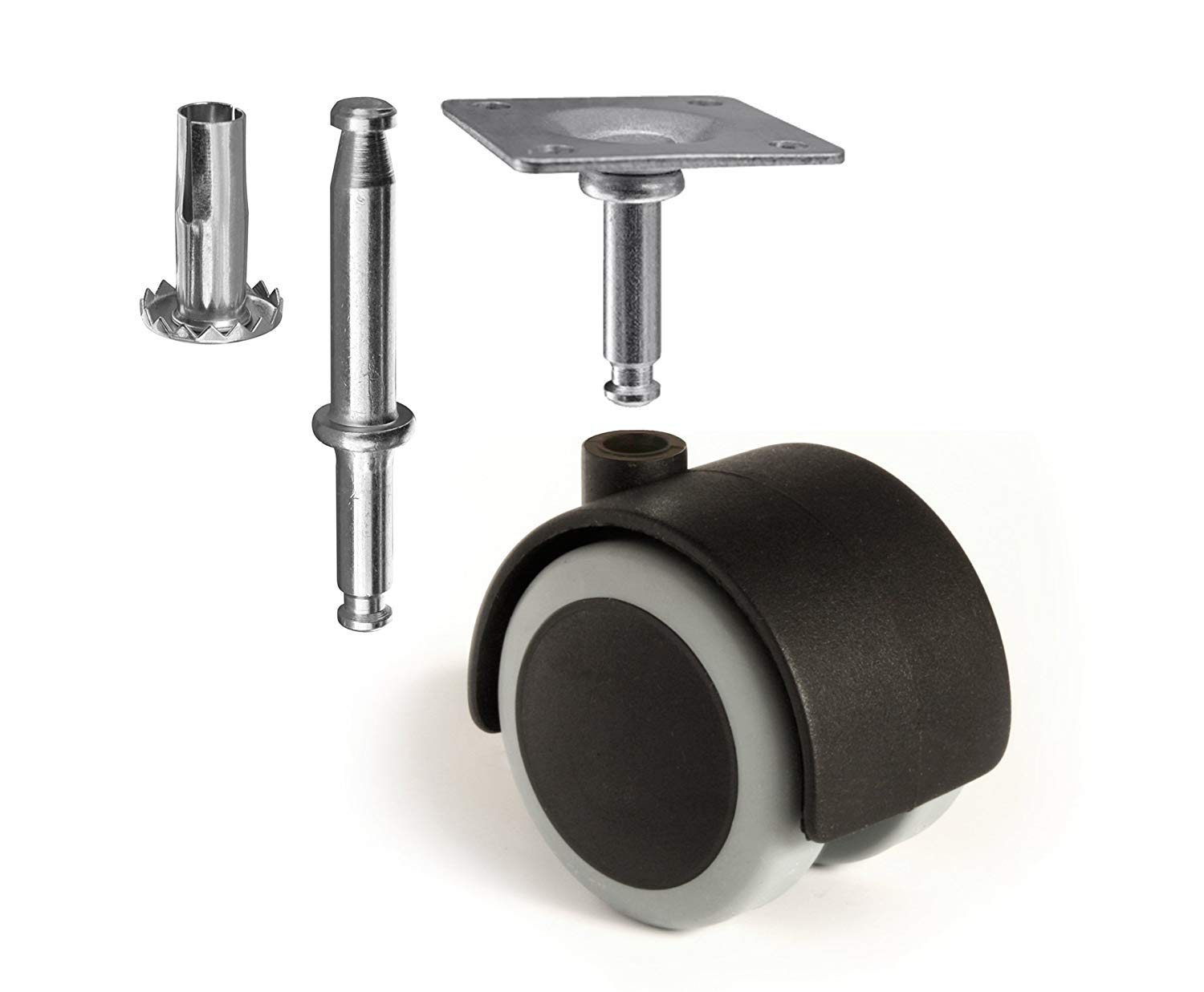 Slipstick CB681 2 Inch Floor Protector Rubber Caster Wheels (Set of 4) 5/16 Inch Stem or Top Plate Mounting Options - Black/Gray (Set of 8)