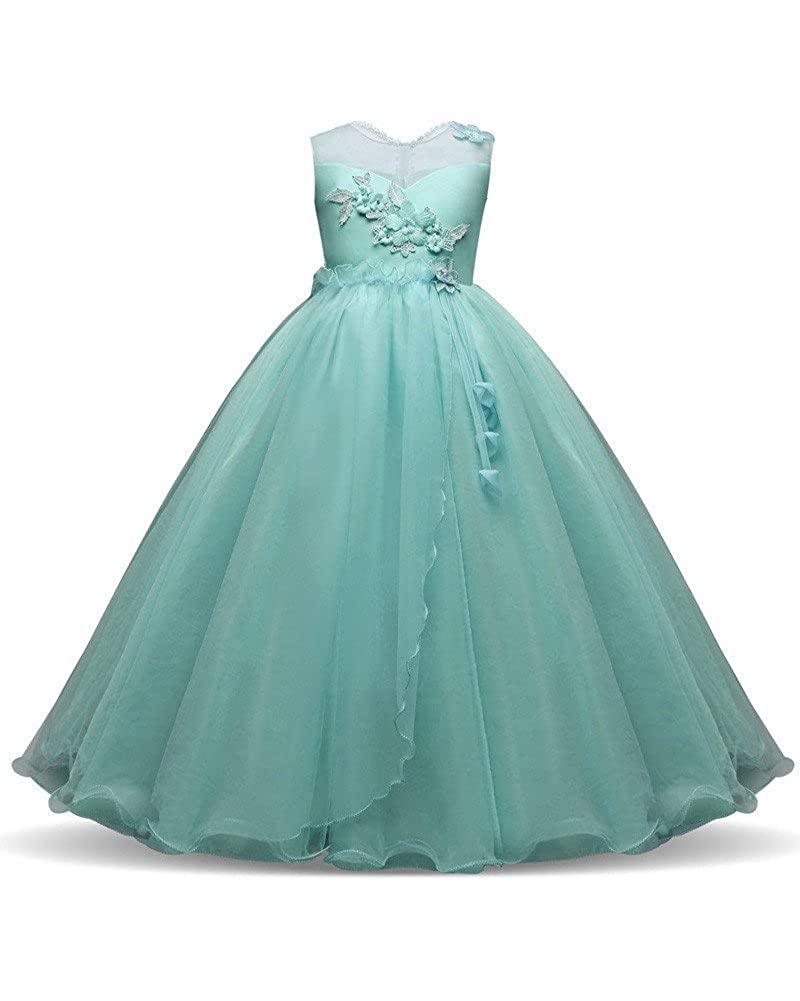 Mint Green Kids Ball Gown Dress For Wedding Formal Size 9 10 716 Teens Tea Lace Flower Girl Dresses Girls Special Occasion Princess Party Birthday Pageant: Mint Green Wedding Dress At Reisefeber.org