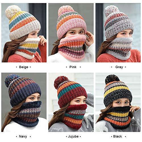 Hat Winter Neckerchief Ski Snow 2pcs Beanie Women Set Knitted Navy Acutty Windproof 5IFgqg