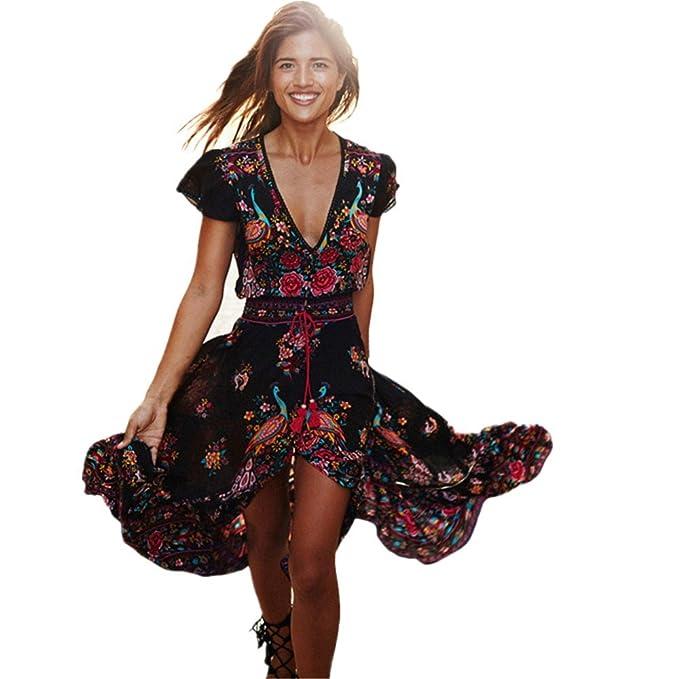 Vestidos Vintage Mujer Largos LHWY, Vestidos De Cuello En V Profundo Vestidos De Estampado Bohemios