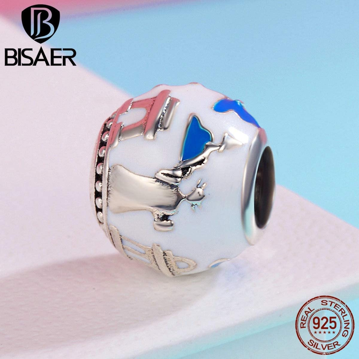 Calvas Authentic 100/% 925 Sterling Silver Fantasy World Travelling Enamel Charms Fit Bracelets Charms Silver 925 Original Jewelry