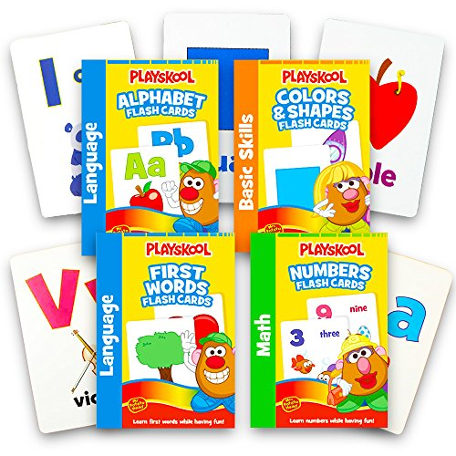 Playskool Flash Cards  - 4 Sets of Flash Cards (Alphabet, Numbers, Colors and Shapes, First Words) - Packaging May Vary (Large Alphabet Cards Flash)