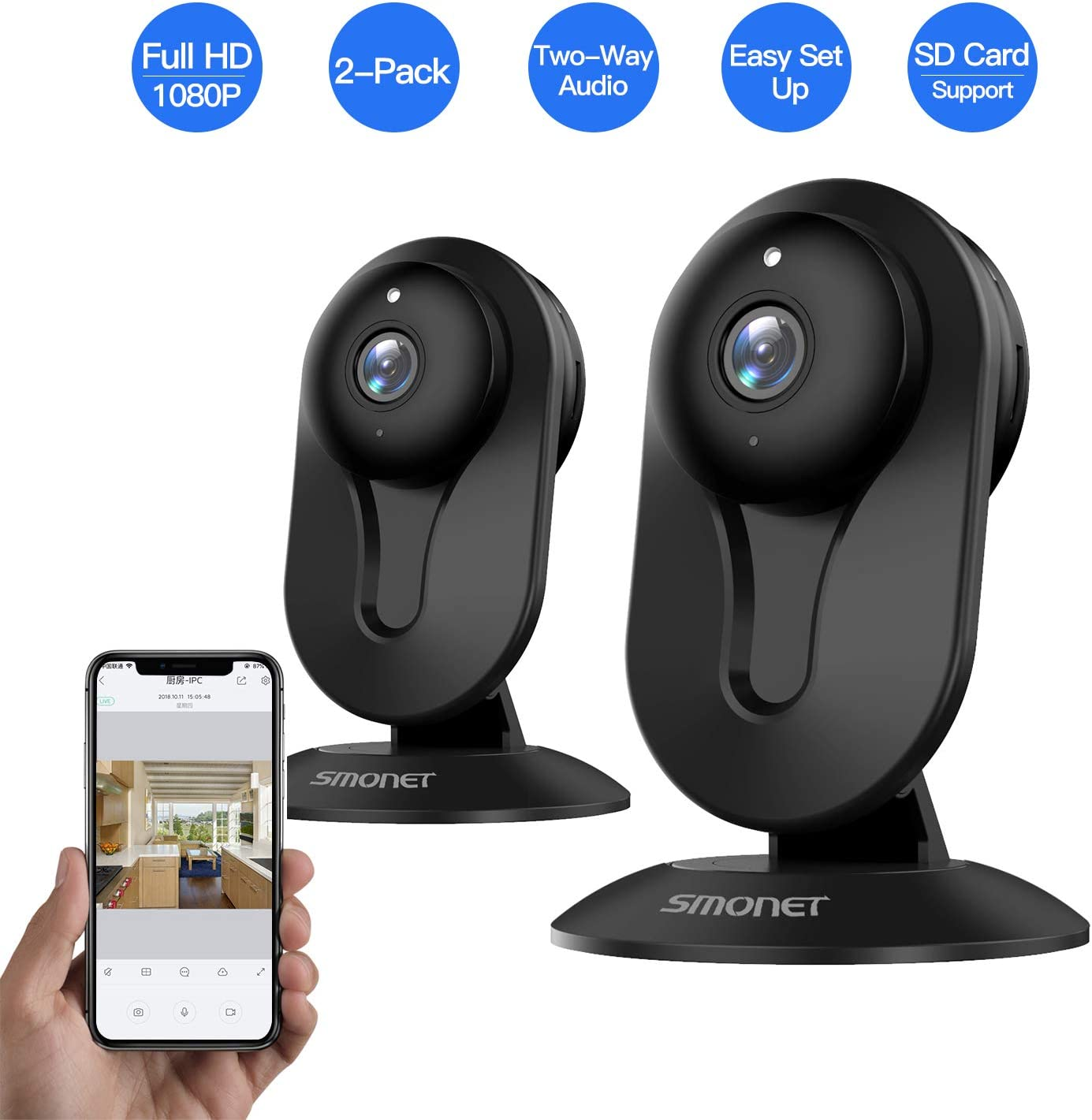 SMONET Security Camera Wireless, Home Security IP Camera with Two-Way Audio, Night Vision, Full HD 1080P 2.0 Mega-Pixel Indoor Surveillance Camera for Elder Baby Nanny Pet Monitor Black, 2 Packs