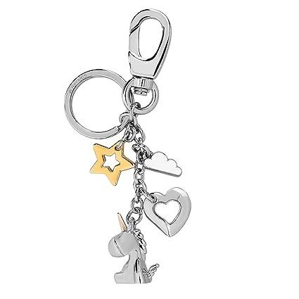 Navaris Llavero de Unicornio con Estrella Nube y corazón - Llaveros de Metal con mosquetón para Llaves de casa y Coche - Cadena metálica Decorativa