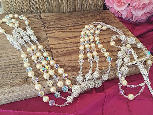 Crystal And Pearls Wedding Lasso/ Authentic Swarovski Crystal and Rhinestone Balls Wedding Lasso/Lazo de Boda con Crystal Swarovski Autentico and Bolas De Brillantes/ Wedding Laso by Baptism Favors And Wedding Lassos