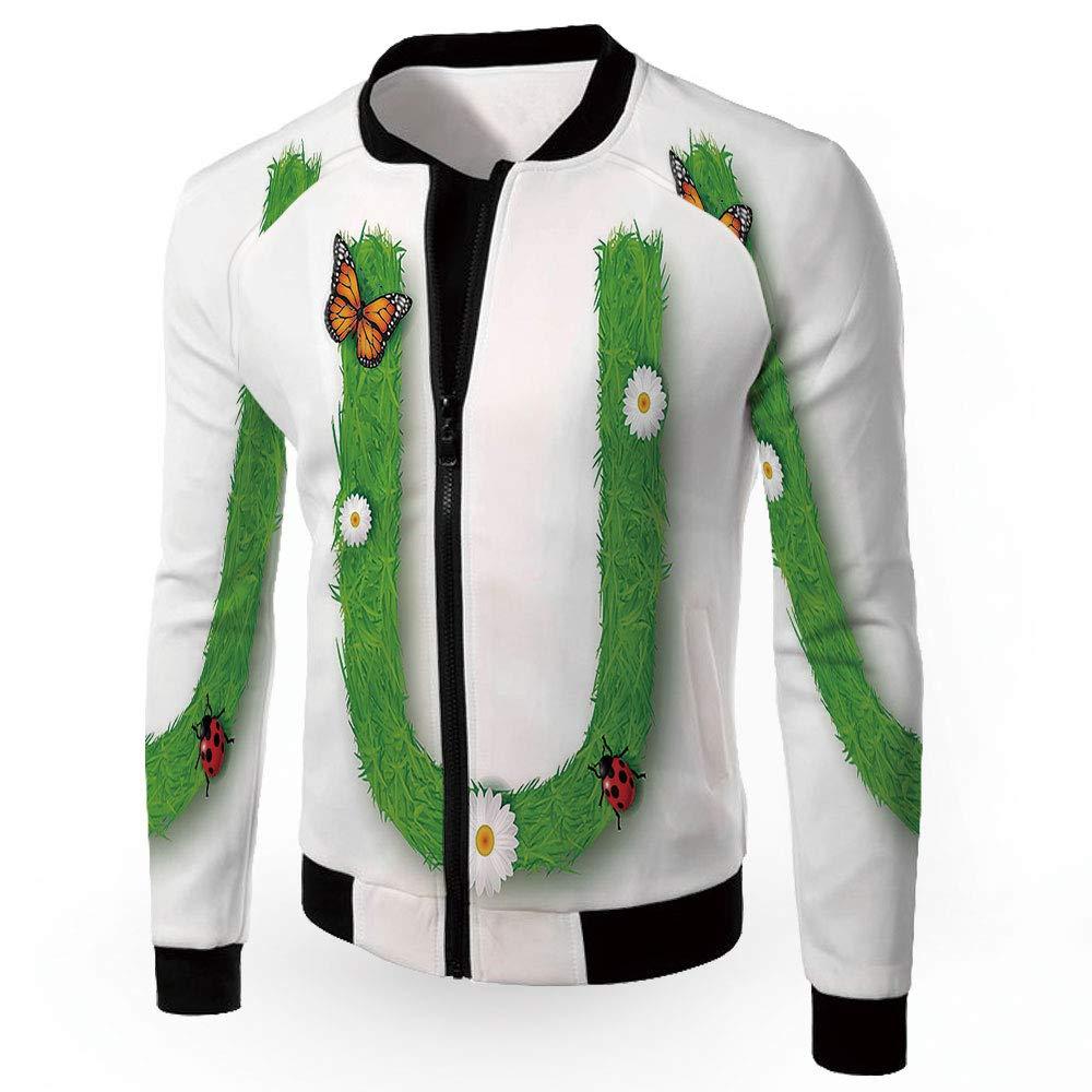 Multi03 XXLarge iPrint Stand Neck Jacket,Letter U,Men's Zipup Lightweight Windbreaker College Jacket,C