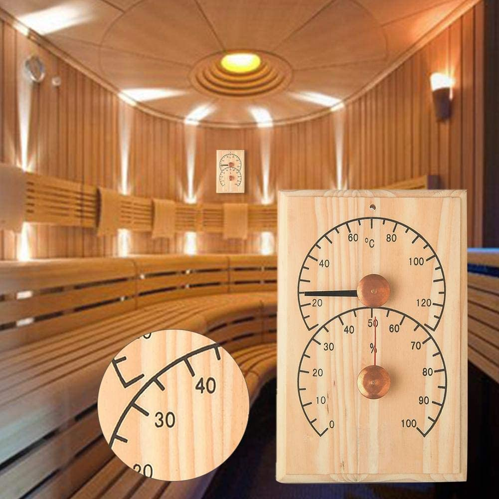 HTYG Sauna Room Digital Thermometer Hygrometer-wooden Sauna thermometer-special temperature and humidity table-Wireless Digital Temperature Meter Accessories for Sauna Room