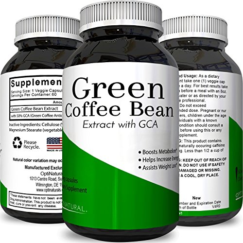 Simple Green Coffee Bean Extract Capsules - Lose Weight and Increase Energy Natural Nutritional Supplement with Chlorogenic Acid for Weight Management Boost Metabolism Exempt System - Opti Natural