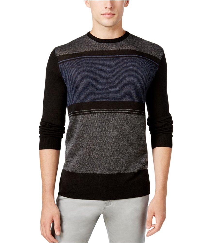 Calvin Klein Men's Merino Sweater Crew Neck, Black Combo, X-Large
