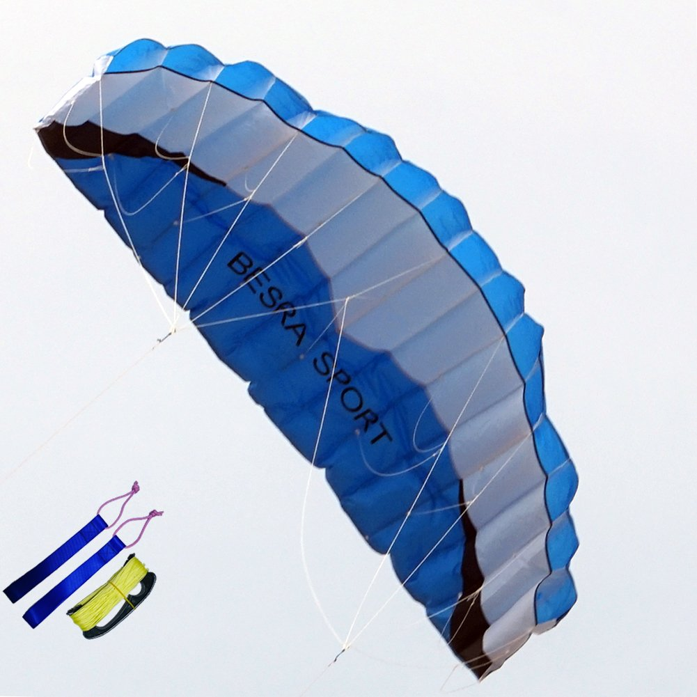 Besra Huge 102inch Dual Line Parachute Stunt Kite with Flying Tools 2.6m Power Parafoil Kites Outdoor Fun Sports for Beach & Park (102inch Blue) by Besra