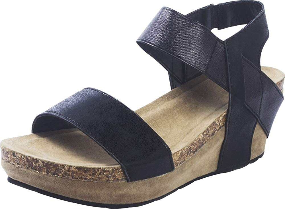 Black Cambridge Select Women's Open Toe Stretch Strappy Chunky Cork Platform Wedge Sandal