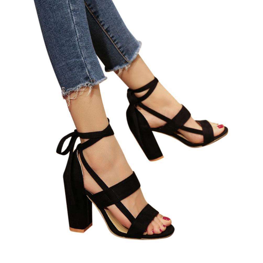 kaifongfu Women Ladies Sandals,Fashion Women Ankle High Heels Block Party Open Toe Shoes (40ღღUS:7.5, Black)