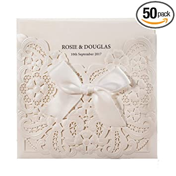 Wishmade Laser Cut Wedding Invitation Card With Embossed Ribbon Design Printable Blank Paper Sleeve For Wedding Invites With Envelope Matched With