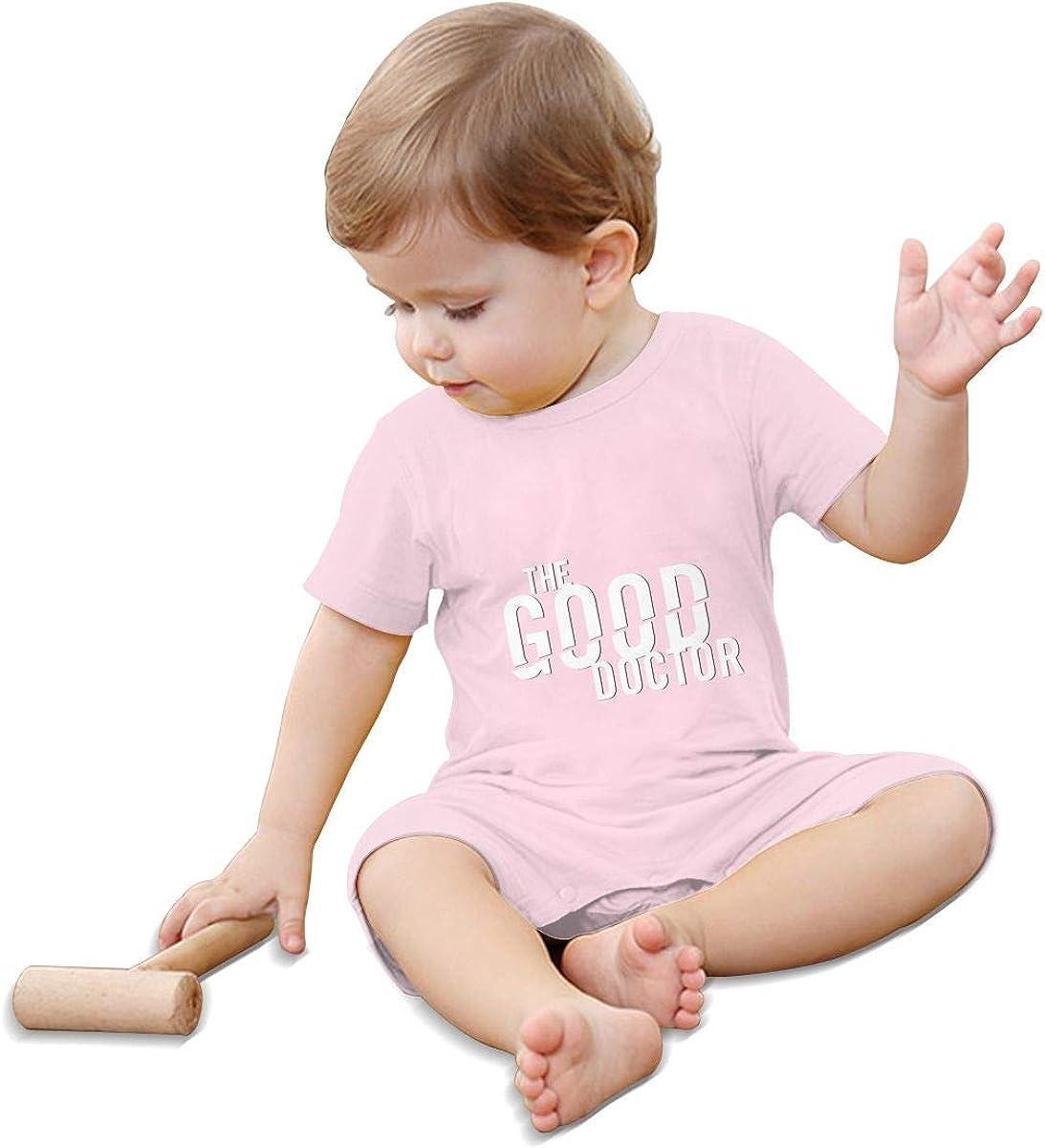 Gerneric The Good Doctor Logo Newborn Baby Cotton Shortsleeve Bodysuits Jumpsuits Pink