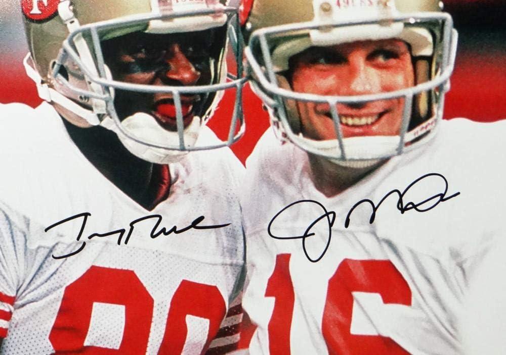 JSA W//Beckett Auth Black Joe Montana Jerry Rice Autographed 49ers 16x20 Smiling PF Photo