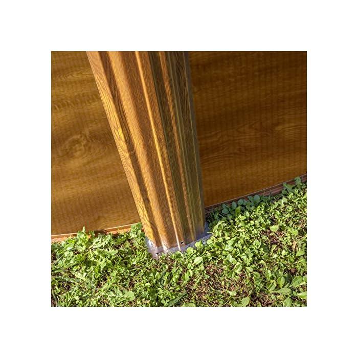 61B4P6Gi0cL Piscina desmontable redonda de pared de acero con decoración de aspecto de madera, de 300 x 120 cm (Diámetro x Alto) Con filtro de cartucho de 3,8 m³/h Incluye escalera de seguridad con tres peldaños por cada lado