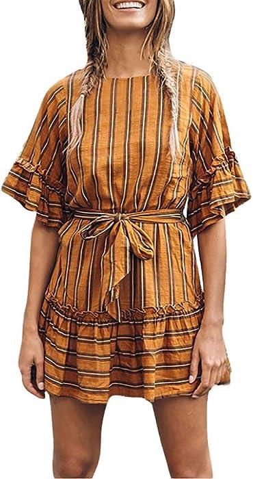 Amazon.com: general3 Women Retro Chic Dress Plus Size Striped O-Neck ...
