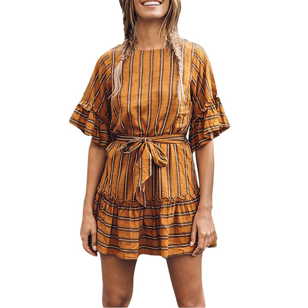 Women Casual Striped O-Neck Ruffles Bow Bandage Short Sleeve Loose Dress (XL, Yellow)