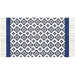 Ukeler Modern Washable Tassels Door Mat Blue Floral Handmade Floor Rugs for Bathroom/Entry, 23.6''x35.4''