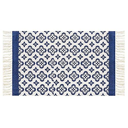 Ukeler Modern Washable Tassels Door Mat Blue Floral Handmade Floor Rugs for Bathroom/Entry, 23.6''x35.4''