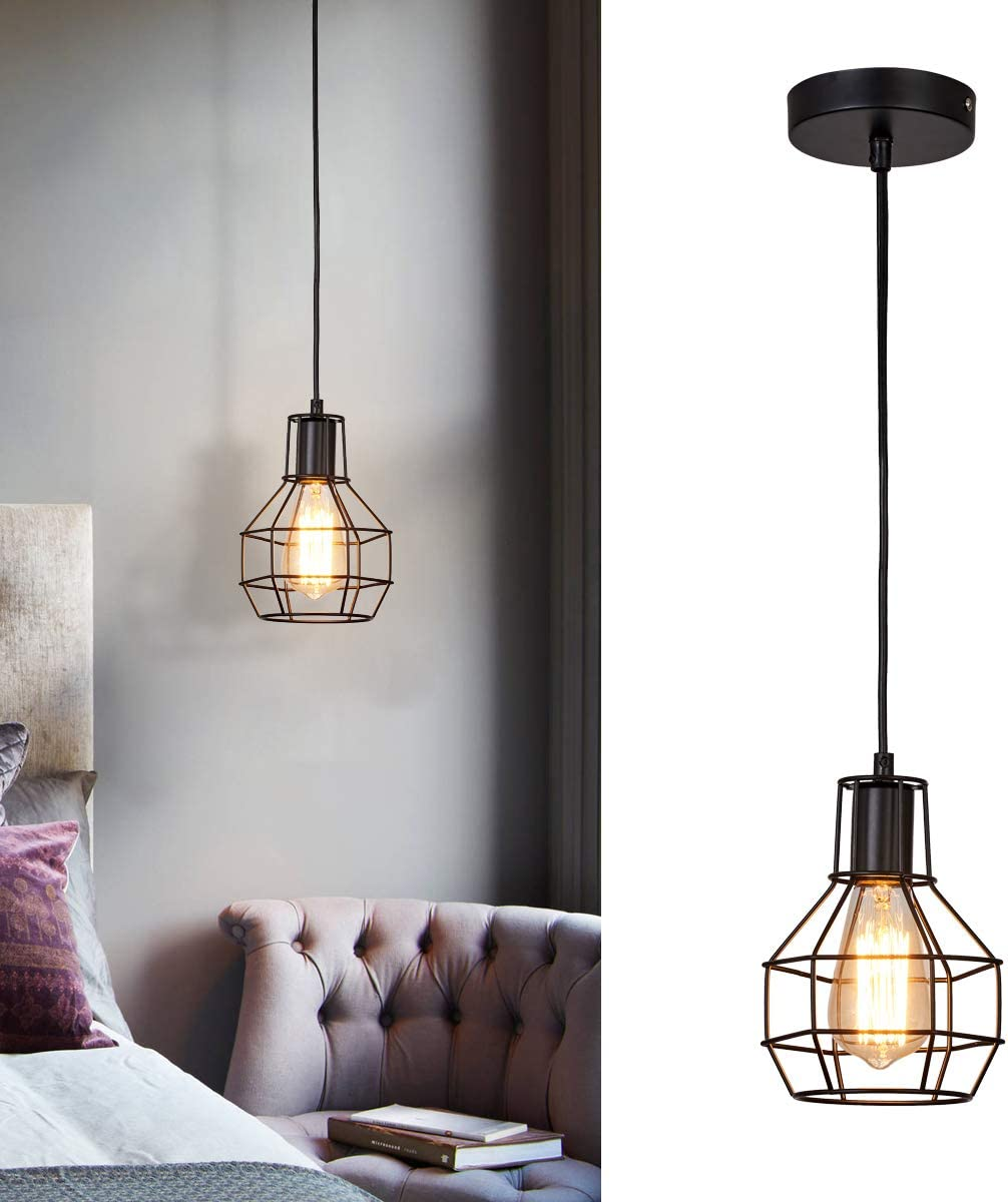SHUNG YU Metal Cage Pendant Light, Vintage Industrial Ceiling Lamp Rustic Hanging Wire Cage Mini Light Fixture for Office Dining Room Living Room Kitchen Island Restaurant Bulb not included
