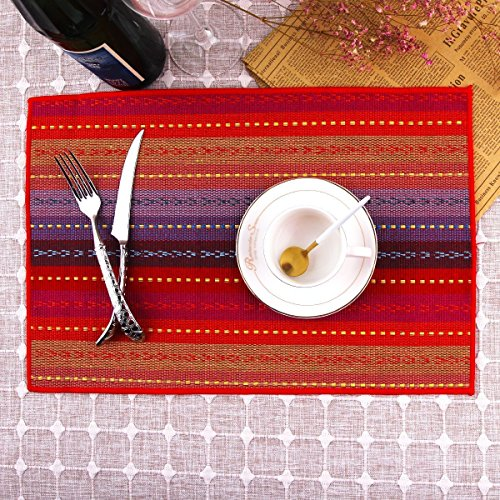 LEKOCH 4-Piece Handmade Cotton Placemats Woven Braided Ribbed Machine Washable Table Place mats Set of 4, 12 x 18 (Red)