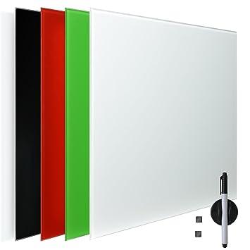 Artina - Pizarra magnética de Cristal imantado - 60x80 cm - Tablero de Notas - con rotulador e imanes - Blanco