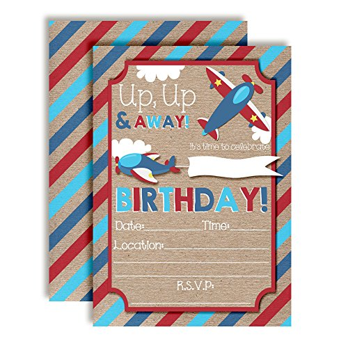 Up & Away Airplane Themed Birthday Party Invitations, 20 5