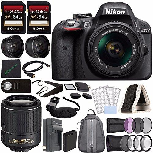 Nikon D3300 DSLR Camera with 18-55mm Lens (Black) + Nikon AF-S DX NIKKOR 55-200mm f/4-5.6G ED VR II Lens + Battery + Charger + Sony 64GB Card + 52mm 3 Piece Filter Set (UV, CPL, FL) + Backpack Bundle