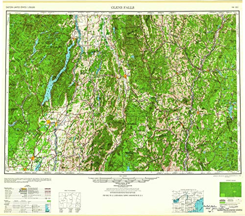 YellowMaps Glens Falls NY topo map, 1:250000 Scale, 1 X 2 Degree, Historical, 1959, 24.2 x 27.4 in - ()