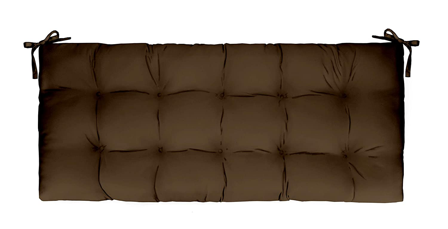Solid Chocolate Brown Indoor Outdoor Tufted Cushion for Bench, Swing, Glider – Choose Size 44 x 20