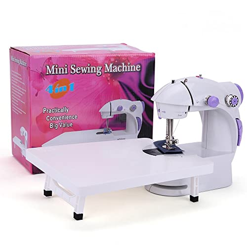 Sewing Machine, Mini Portable Double Speed Kid's Sewing Machine for Beginners with Light + Extension Table + Foot Pedal + 4 Coils AC100-240V (Purple) 201