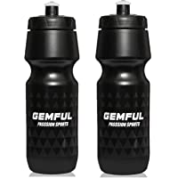 GEMFUL Bike Water Bottle 2 Pack 750ml Sports Squeeze Road Mountain Bicycle Bottles for Cycling black