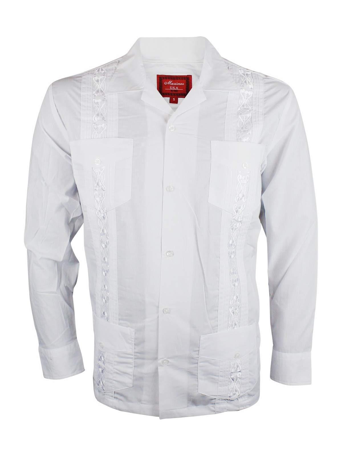 Ginoken Guayabera Men's Cuban Style Bartender Wedding Button Up Long Sleeve Dress Shirt