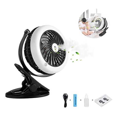 Linsam Portable Misting Fan, Clip On USB U0026 Battery Cooling Stroller Fan  Rechargeable For Baby
