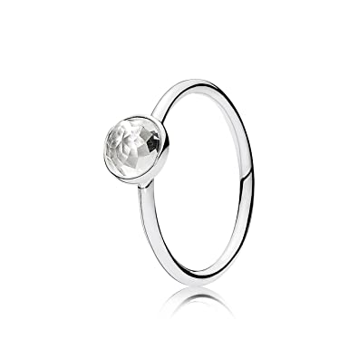 009f4df60 Amazon.com: PANDORA Ring 191012RC-54 Woman Silver Crystal Rock: Jewelry
