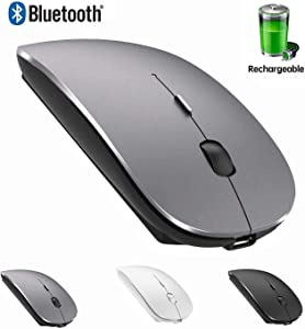Rechargeable Bluetooth Mouse for MacBook Pro Wireless Bluetooth Mouse for Mac Laptop MacBook Air Windows Notebook MacBook (Gray)
